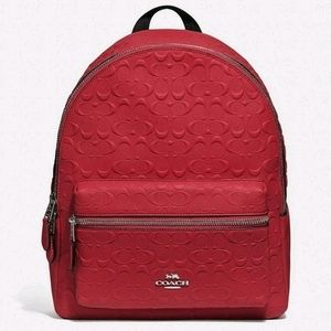 Coach Backpack Signature Leather Embossed Bag NWT